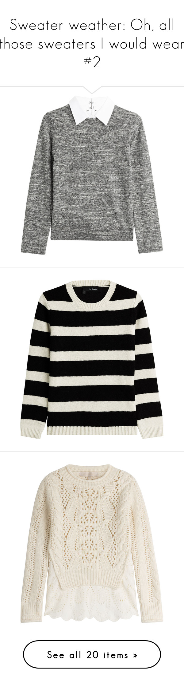 """""""Sweater weather: Oh, all those sweaters I would wear #2"""" by the92liner ❤ liked on Polyvore featuring tops, sweaters, shirts, jumper, grey, cotton sweater, wool zip sweater, cotton pullover sweater, wool shirt and zipper shirt"""