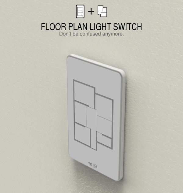 clever: floor plan light switch lets you control all the lights in your house in one spot.
