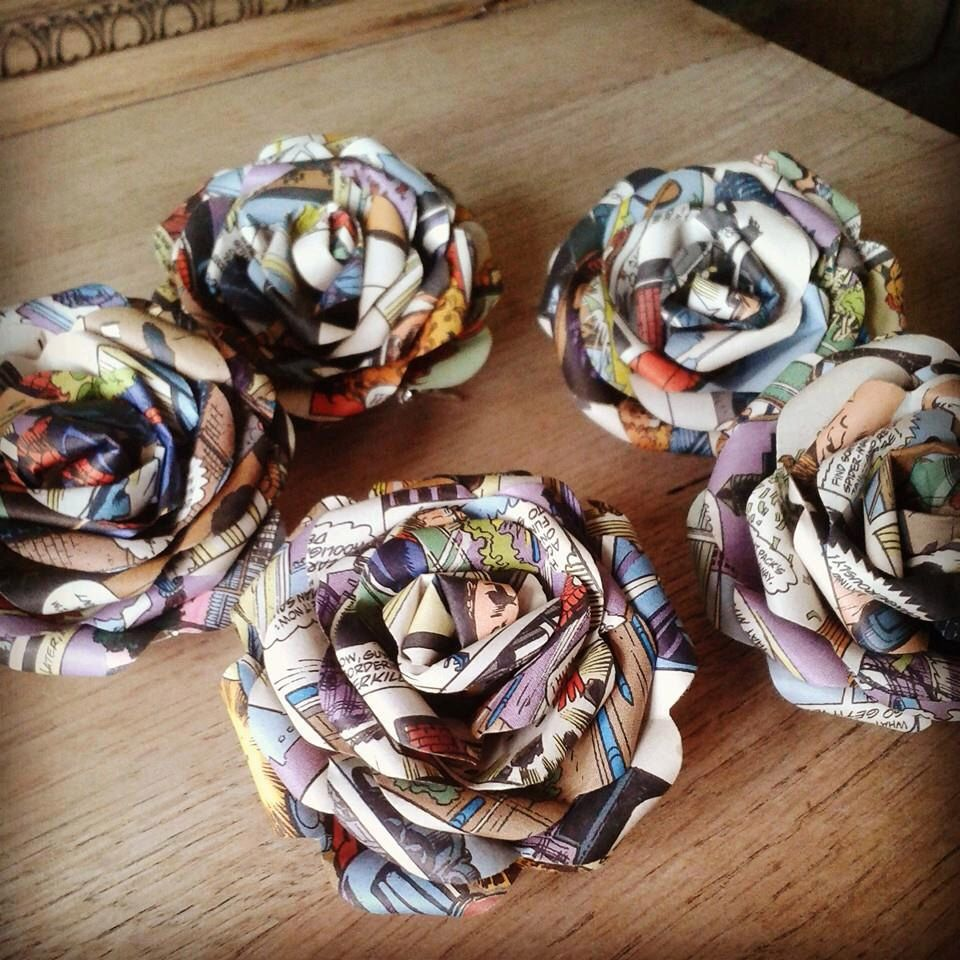 paper buttonholes bouquet flowers marvel of dc comic origami made