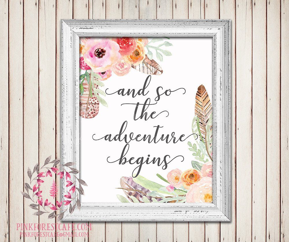 and so the adventure begins boho feather tribal watercolor floral