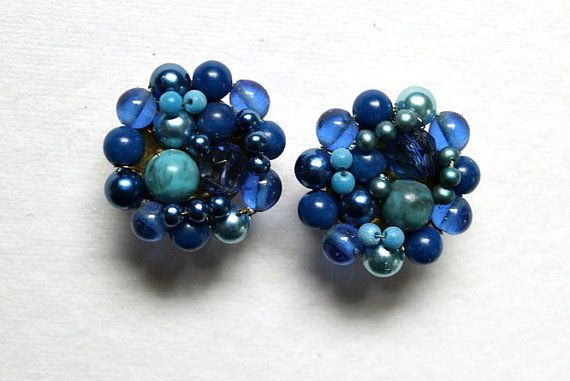 Blue Glass Cluster Clip Earrings Japan 1950s by WrensNestVintage, $4.00
