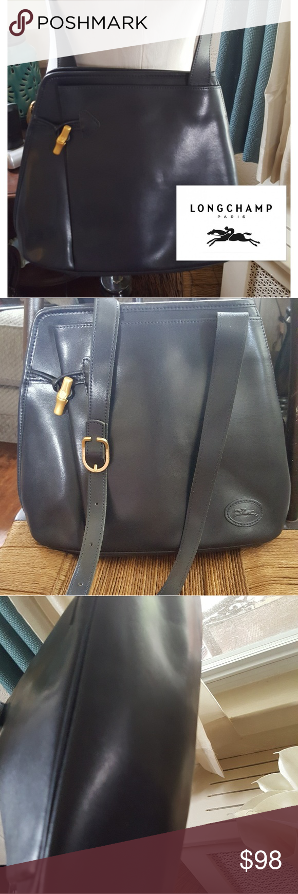 Longchamp Roseau crossbody bag A bag for my Personal Collection which shows literally no signs of use. It is navy blue leather with the correct Hardware as shown in photos. 8.5 in h × 4 in w x 10.5 w. This is a fabulous vintage bag with an adjustable shoulder strap. Reasonable offers are welcome. This is an amazing bag with a front pocket as well as to slip pockets Longchamp Bags Crossbody Bags
