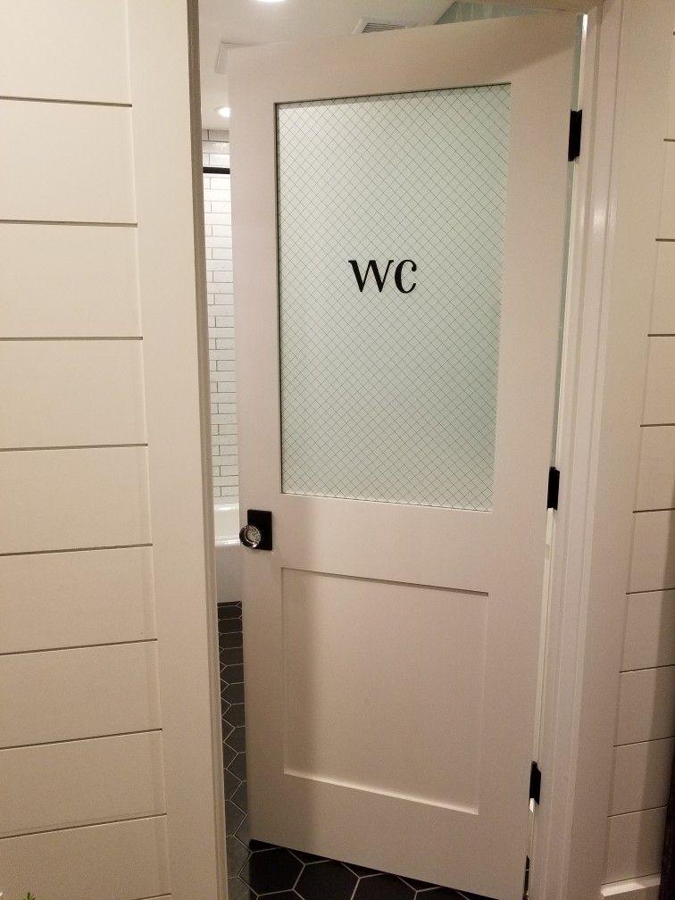 Water Closet Powder Room Door Chicken Wire Glass Glass
