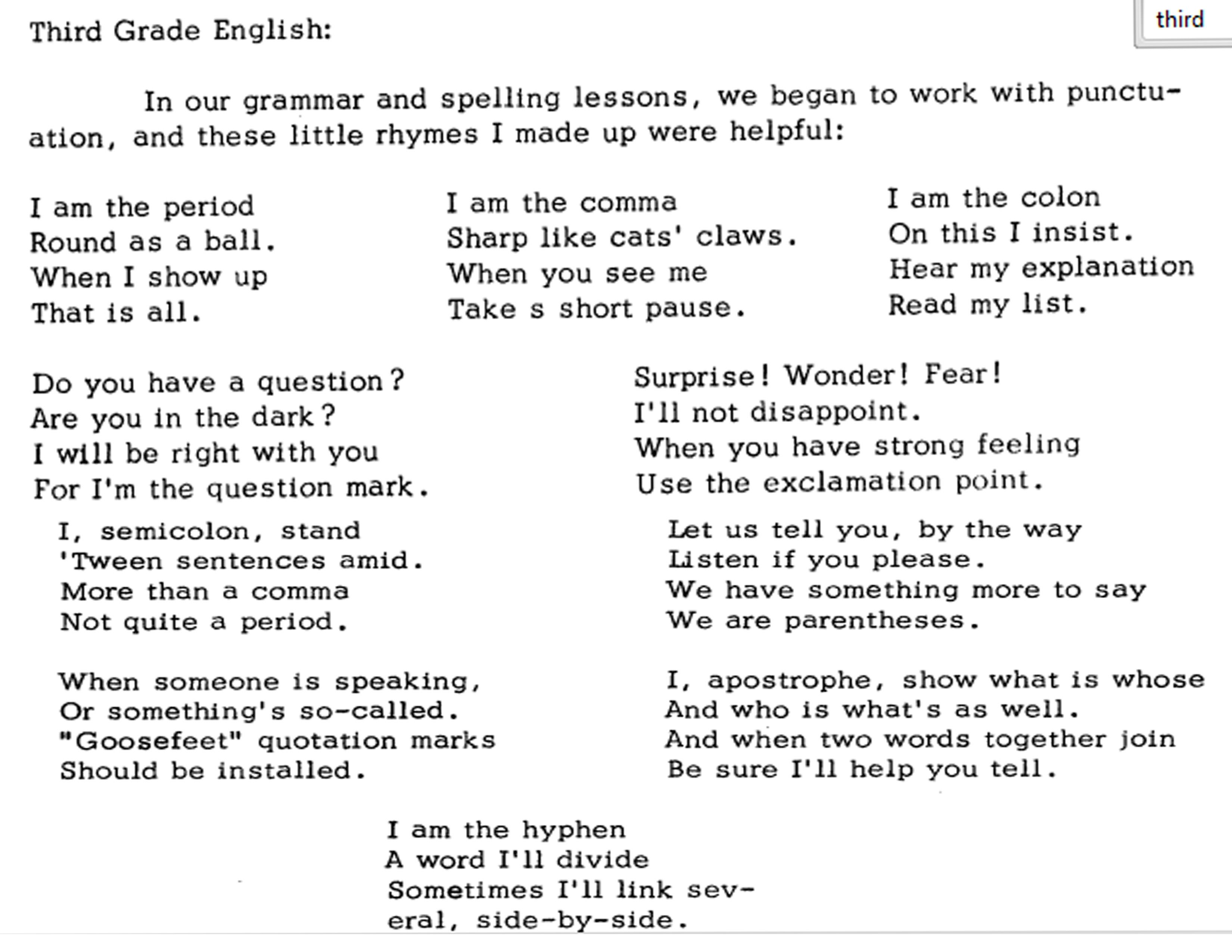 english verses from waldorf newsletter http//www