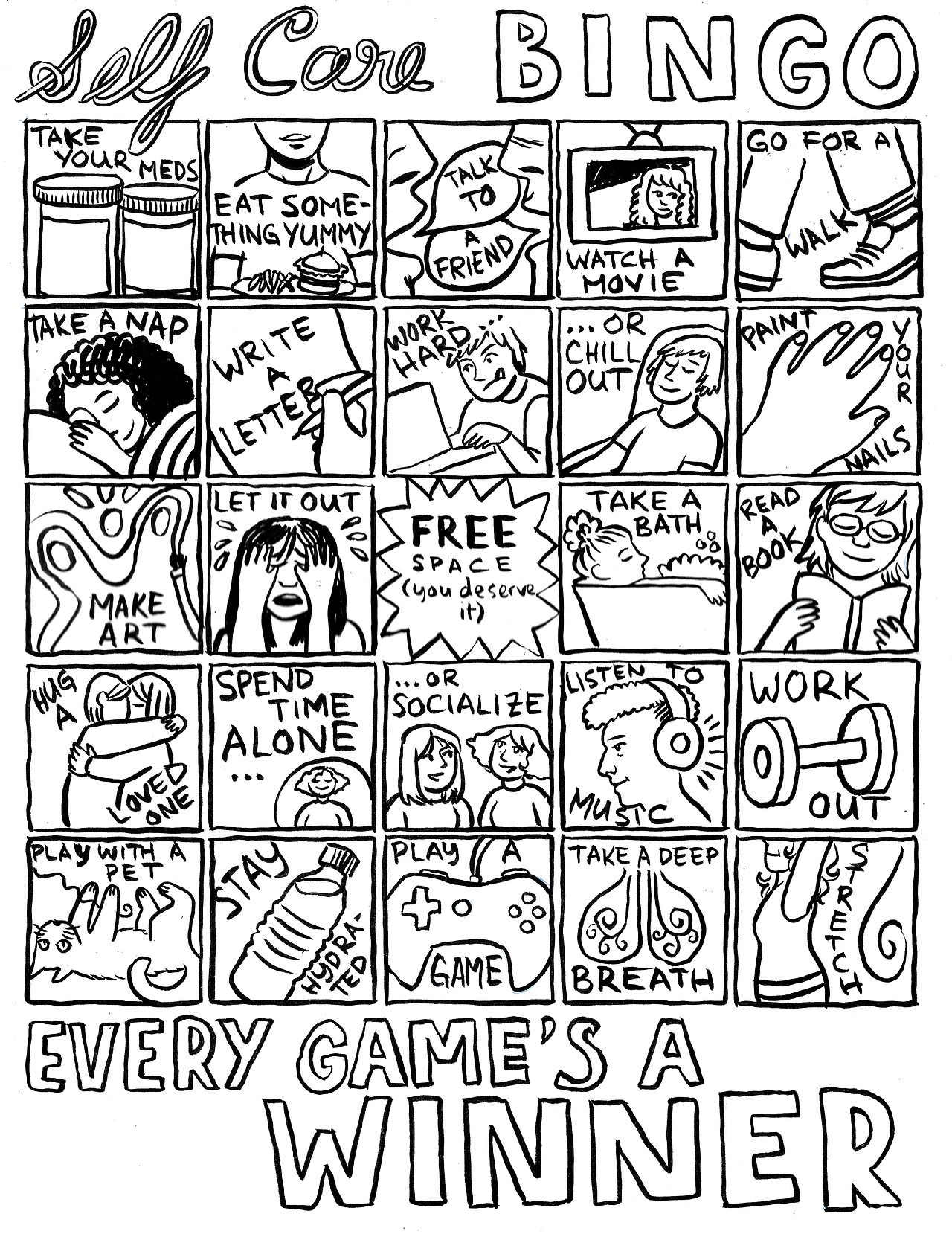 Self Care Bingo Play Daily Every Game S A Winner