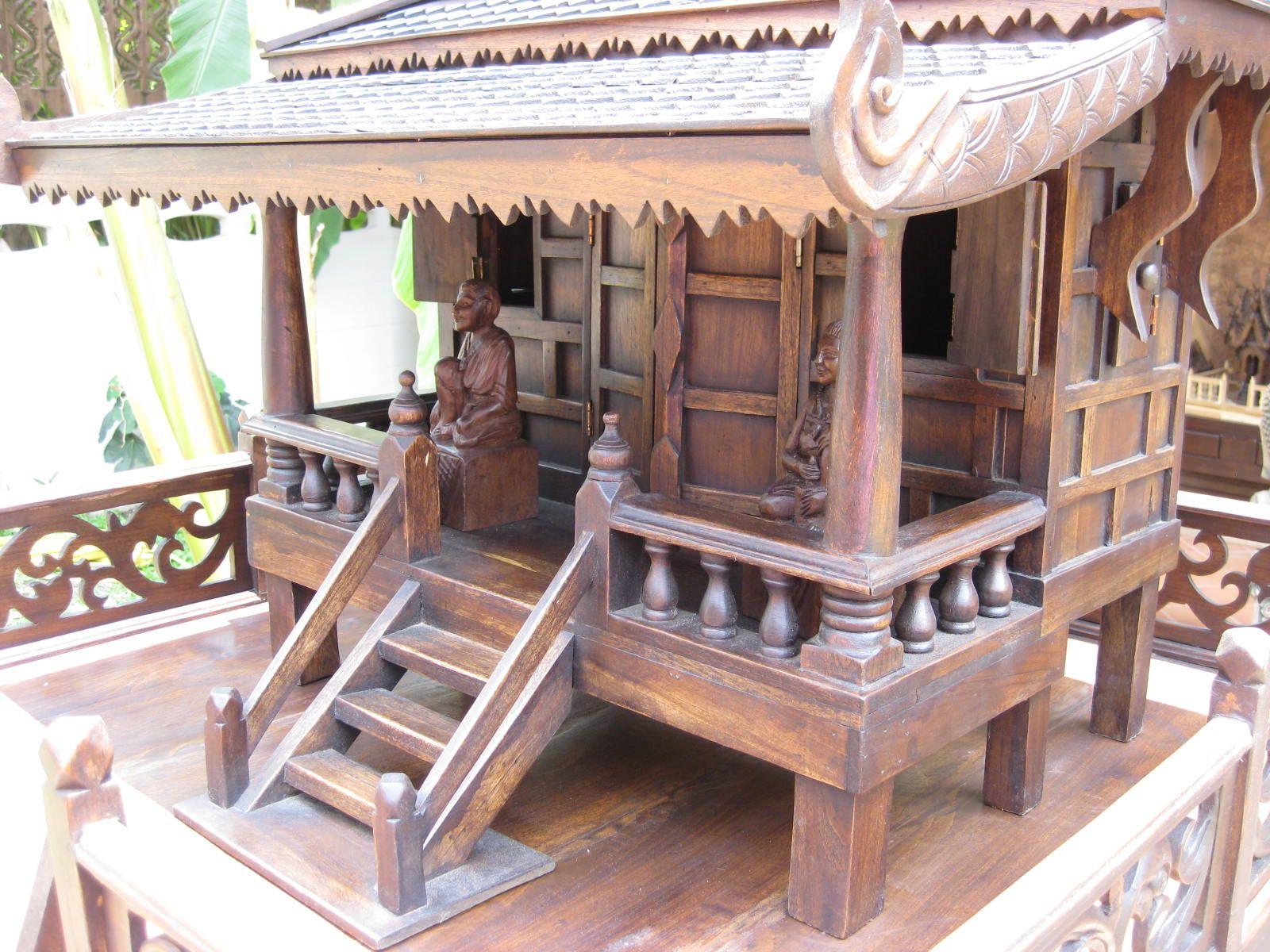 Set Of Thai Teak Wood Spirit House Huan Hauw House