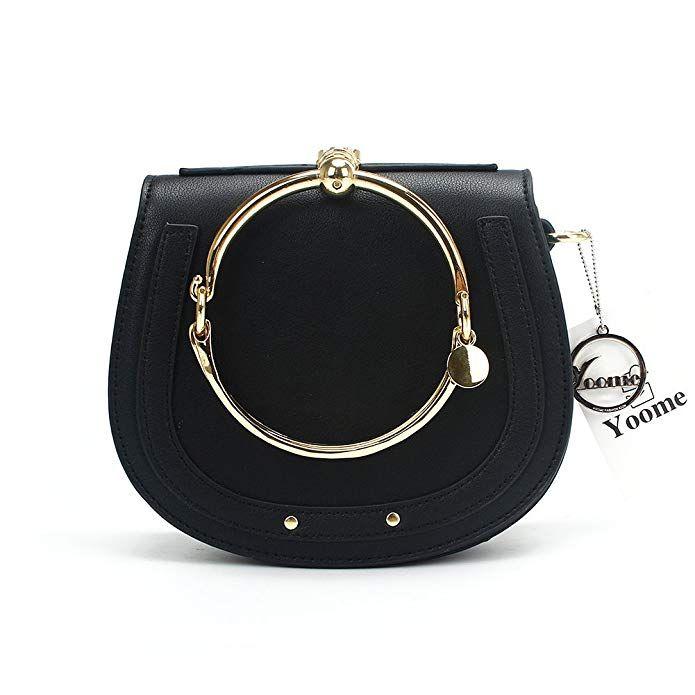 Amazon.com  Yoome Women Punk Circular Ring Handle Handbags Small Round Purse  Crossbody Bags For Girls - Light Beige  Clothing ae7cef3c10b02
