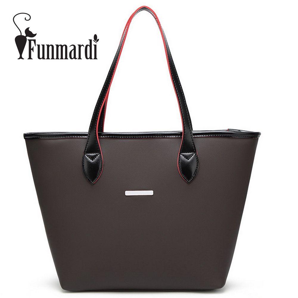 3622cf6325 FUNMARDI Luxury simple design leather bag Fashion leather women handbag  Brand design shoulder bag Famous totes