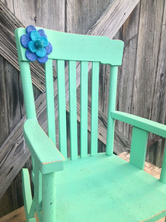 Vintage Green Painted Kids Rocking Chair By ZassysTreasures, $50.00
