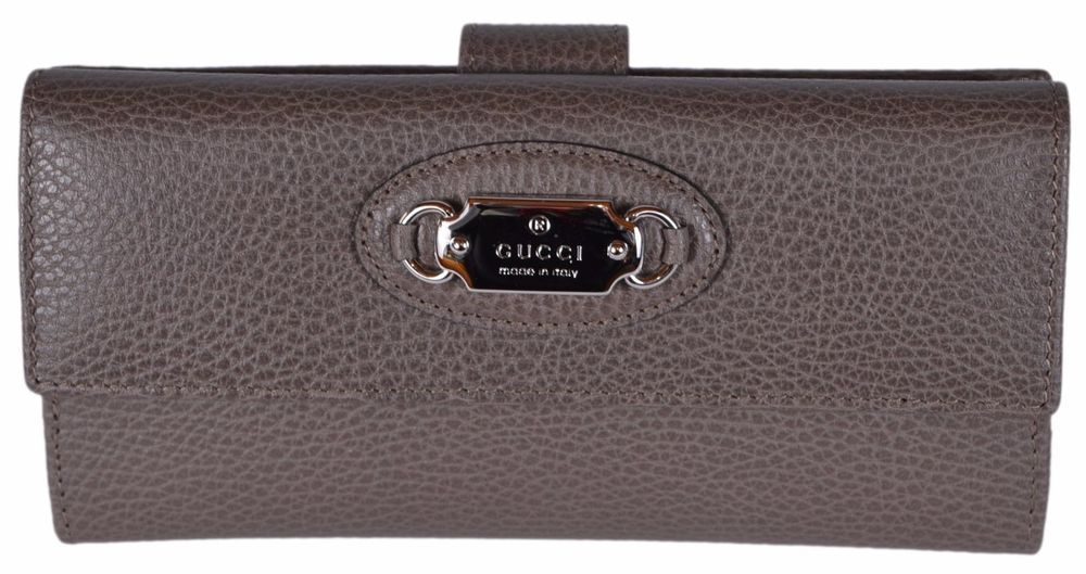 ef22744decd New Gucci Women s 231841 Grey Field Brown Leather W Coin Continental ...