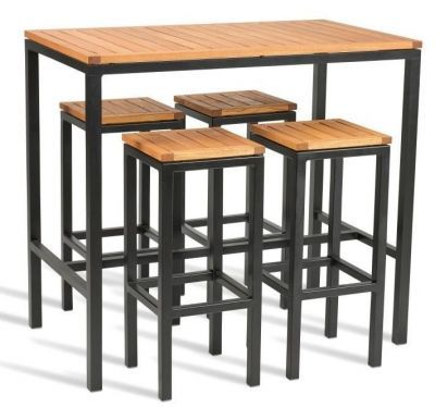 Kendo Bar Height Outdoor Dining Set is part of Table - Outdoor dining site comprising four stools and a bar height table  Comes with a robust Robina wood top and seats