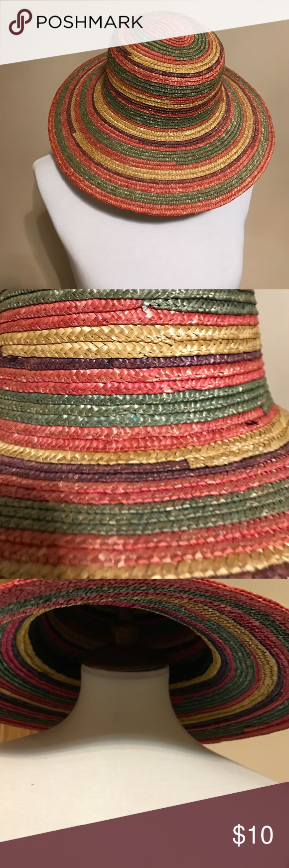 Summer Straw Hat Beautiful multi colors summer hat. Used only couple times because it is for smaller heads than mine. Accessories Hats