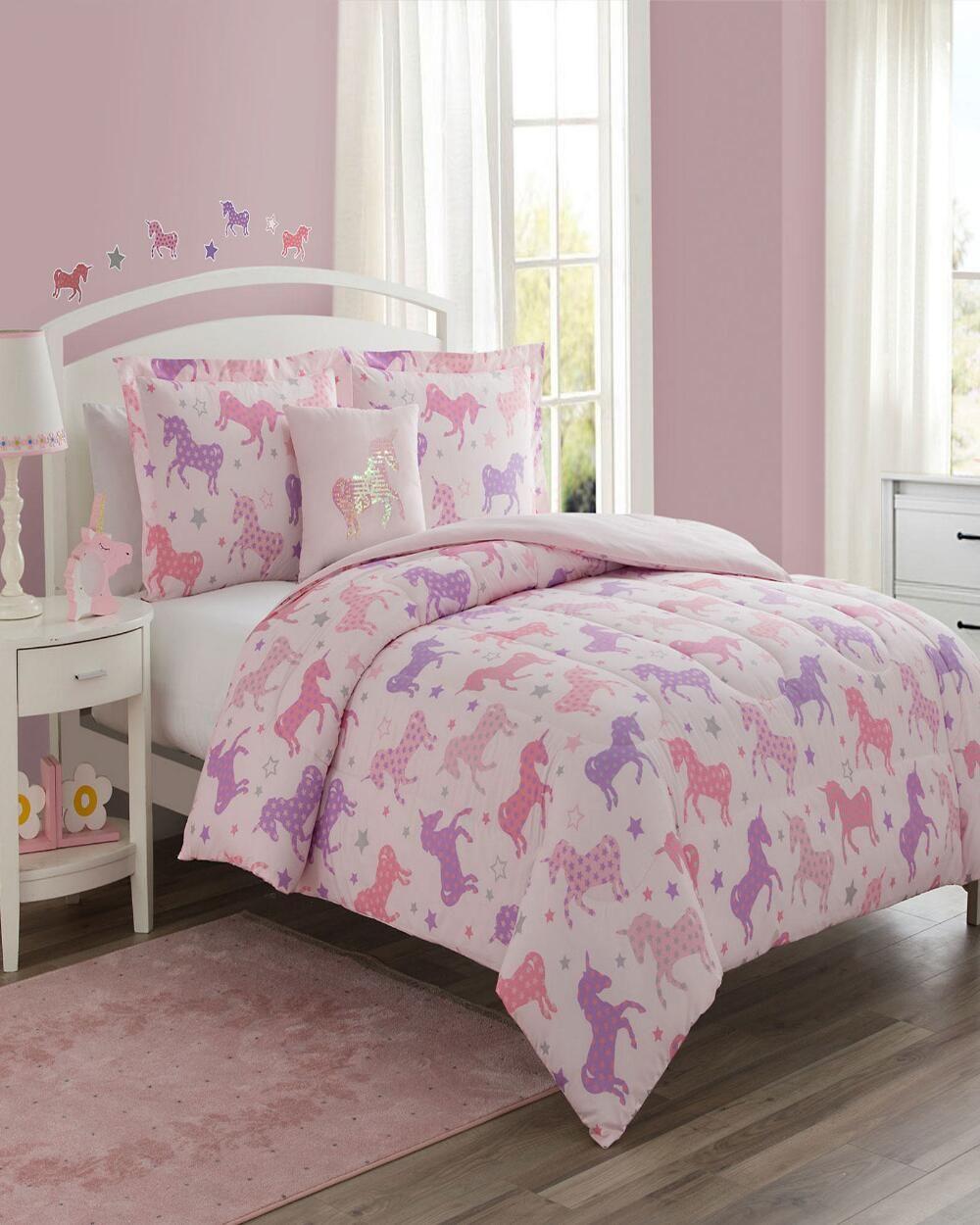 4 Piece Unicorn Starlight Comforter Set In 2020 Comforter Sets