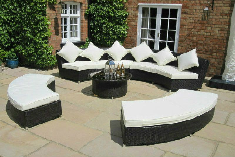oakita amber rattan ultimate garden furniture circular sofa set