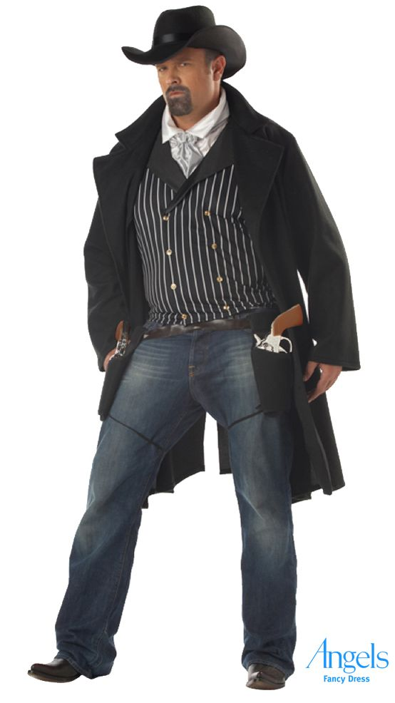 Mean, moody and magnificent, and that is just the costume! Our gunfighter costume pack is made up of a western duster coat, a dicky (shirt front and necktie), a hat and a pair of fabric holsters. Costume shown here with models own belt and trousers (not included). http://www.fancydress.com/costumes/Full-Figure-Gunfighter-Plus/0~4343359~116  #fancydress