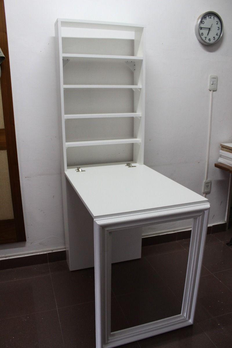 Escritorio mesa plegable pared con espacio de guardado scrivania pinterest mesa plegable - Mesa plegable pared ...