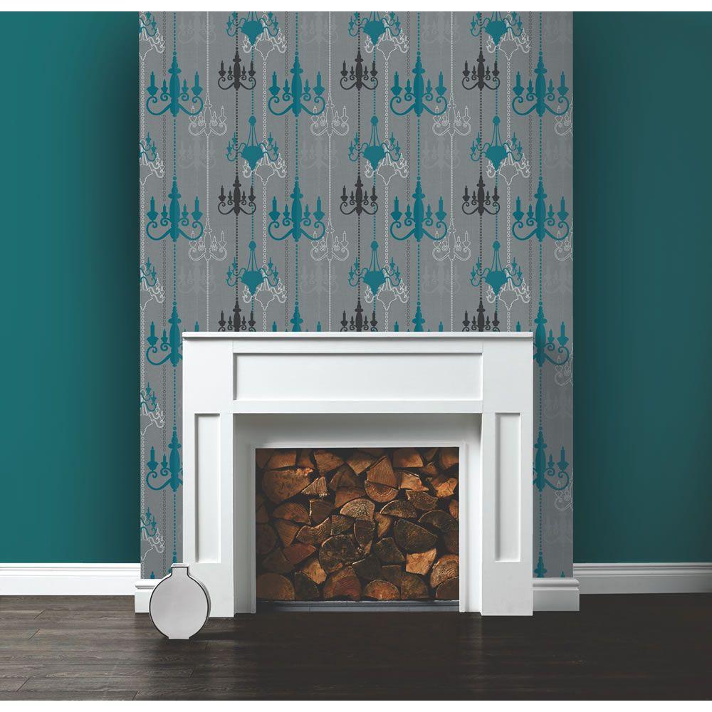 Wilko Chandelier Wallpaper Teal/Grey WP332112 Wallpaper