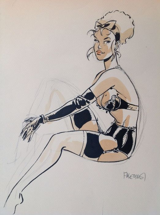 Meynet Felix Dessin Original En Couleurs Pin Up Belles De Bd