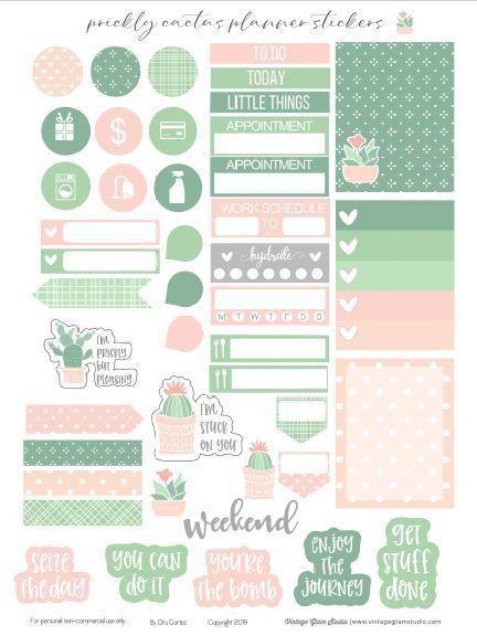 Prickly Cactus Planner Stickers Printable - Vintage Glam Studio