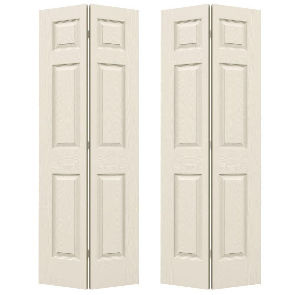 Jeld Wen 48 In X 80 In Colonist Primed Textured Molded Composite Mdf Closet Bi Fold Double Door Thdjw160600153 Bifold Doors Bifold Closet Doors Doors Interior