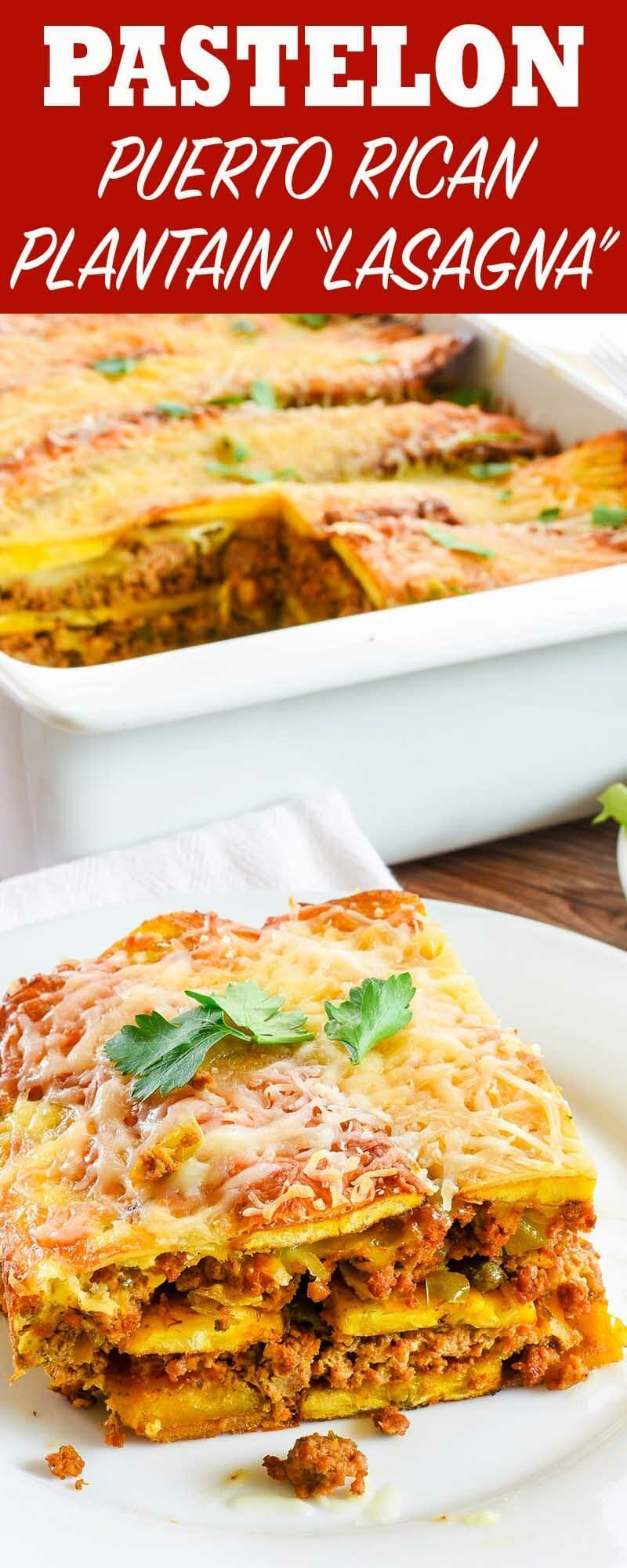 "(Puerto Rican Plantain ""Lasagna"") Pastelón is a classic Puerto Rican dish made with layers of thinly-sliced plantains, ground beef, and cheese! It's the perfect casserole to make for a potluck or family gathering.Pastelón is a classic Puerto Rican dish made with layers of thinly-sliced plantains, ground beef, and cheese! It's the perfe..."