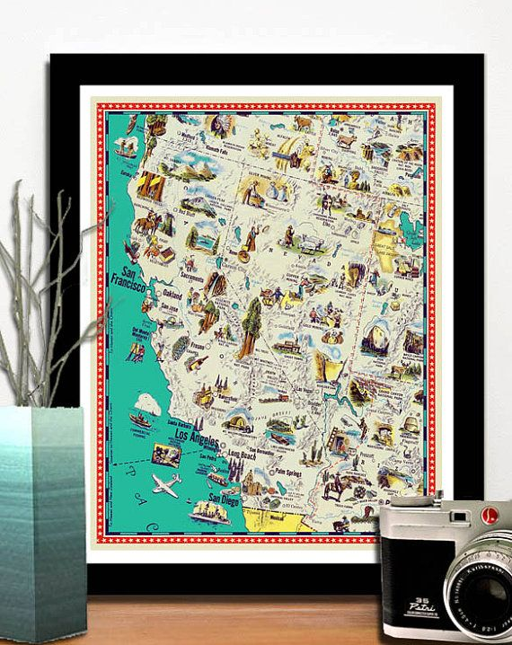 Vintage California And Nevada Map Illustrated California Map Etsy Nevada Map Map Art California Map