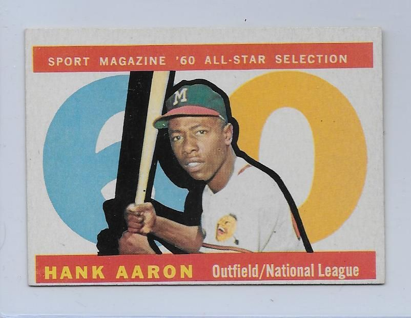 1960 topps 566 hank aaron exmt all star braves hof cards