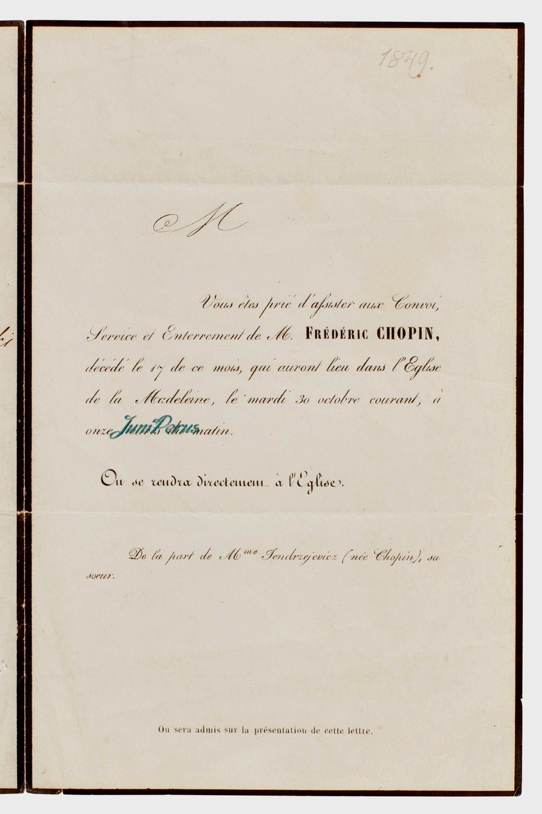 Chopin, Frédéric PRINTED INVITATION TO CHOPIN\'S FUNERAL IN PARIS, AT ...