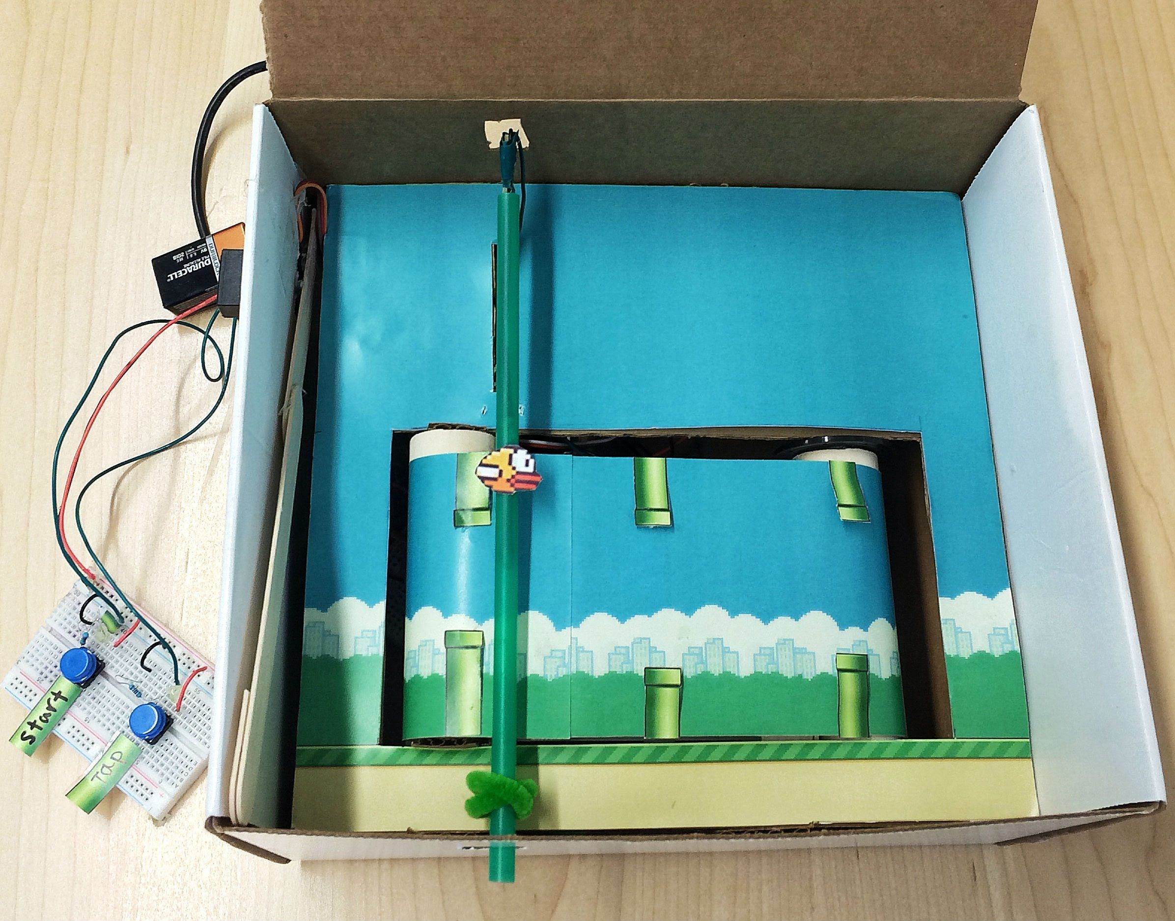 Flappy bird in a box a hacked together physical version