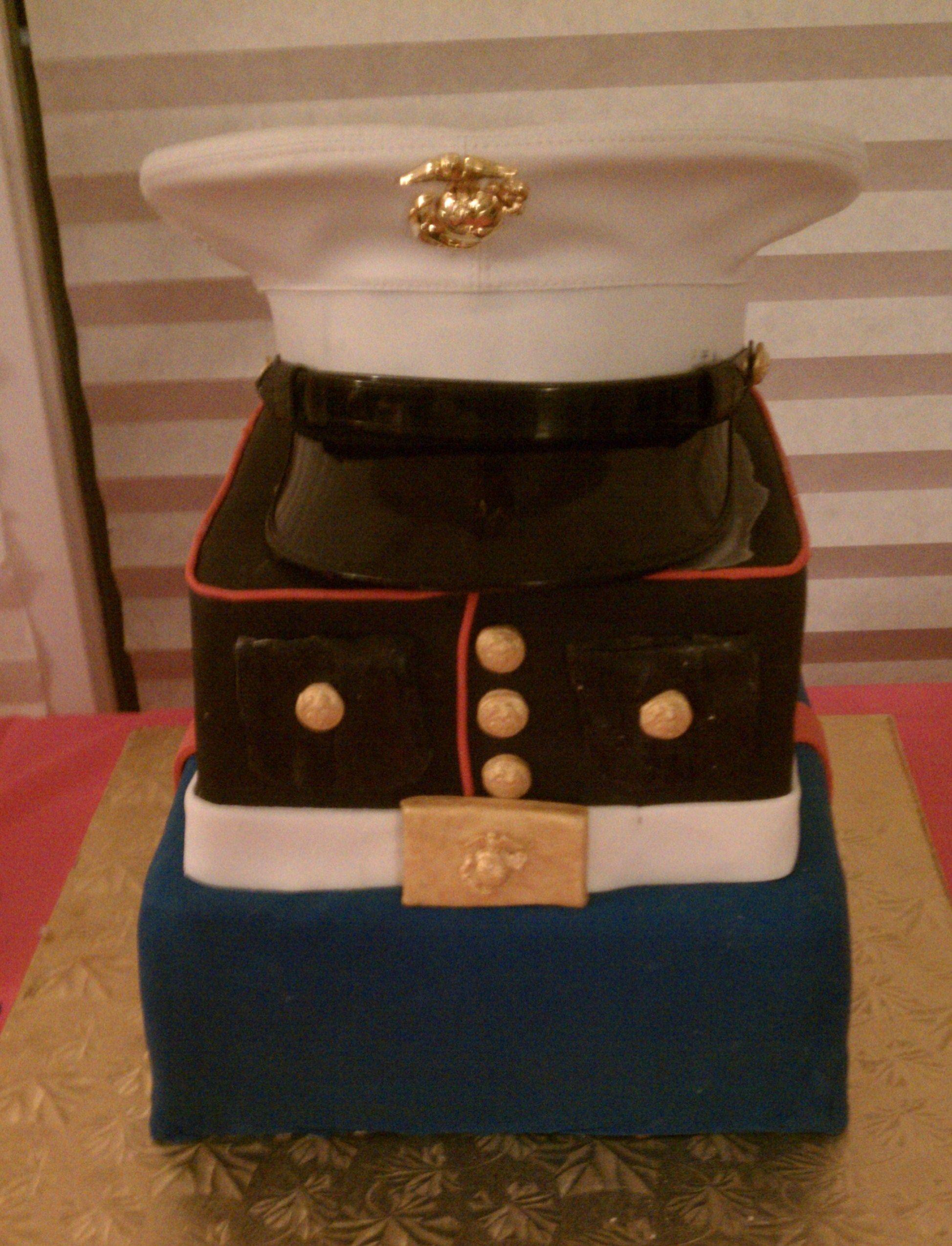 layered marine corps cake Dana Kline Marine cake