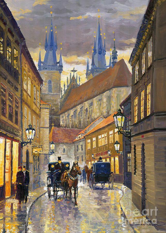 Prague Old Street Stupartska By Yuriy Shevchuk Cityscape Painting Cityscape Art City Art