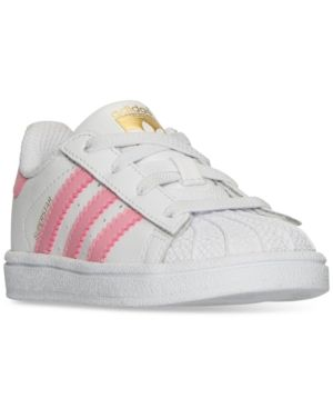 adidas Toddler Girls' Superstar Sneakers from Finish Line - WHITE/PINK 7