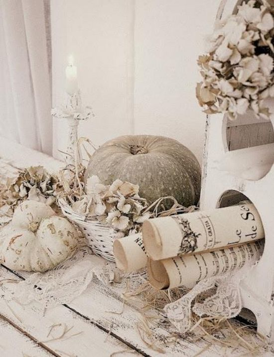 Schön Natürliche Materialien Elegante Ideen Für Herbstdeko In Weiß