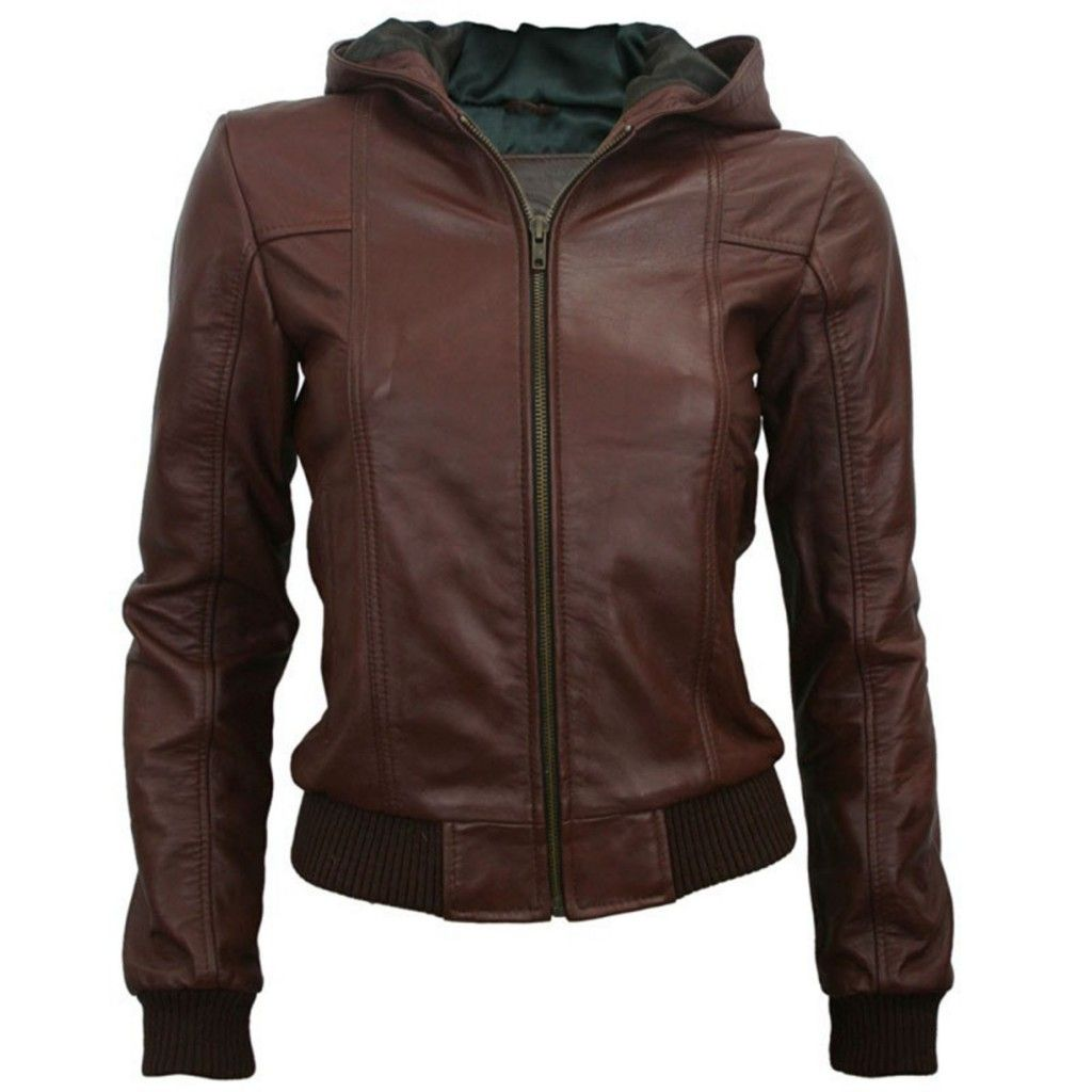 Women's Leather Bomber Jacket with Funnel Neck | Sweater Vests ...