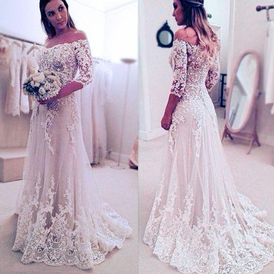 Stunning Off Shoulder Half Sleeve Long A Line Wedding Party Dresses Wd0059
