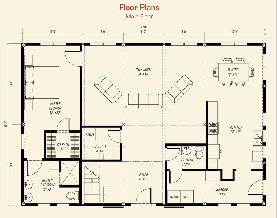 Barn Home Kit Main Floor Plan Dream Acreage3 Blue Home Combo Barn House Kits Barn House Barn Plans