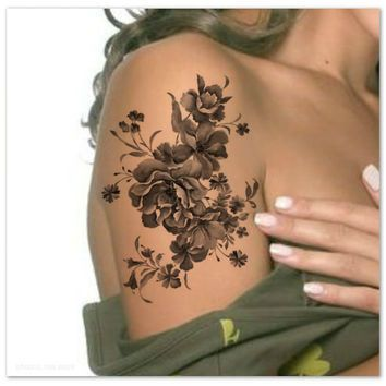 Temporary Tattoo Shoulder Flower Ultra Thin Realistic Fake ...
