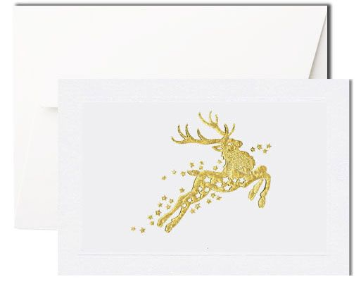 Pineider presents this bi-fold, white card featuring on the front a rgold eindeer with stars, both hand-engraved. The envelope is white, Pineider watermarked.