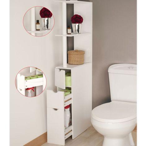 Meuble Wc Etagere Bois 3 Portes Blanc Gain De Place Pour Toilettes 12227 En 2020 Meuble Wc Meuble Rangement Wc Meuble Wc Bois