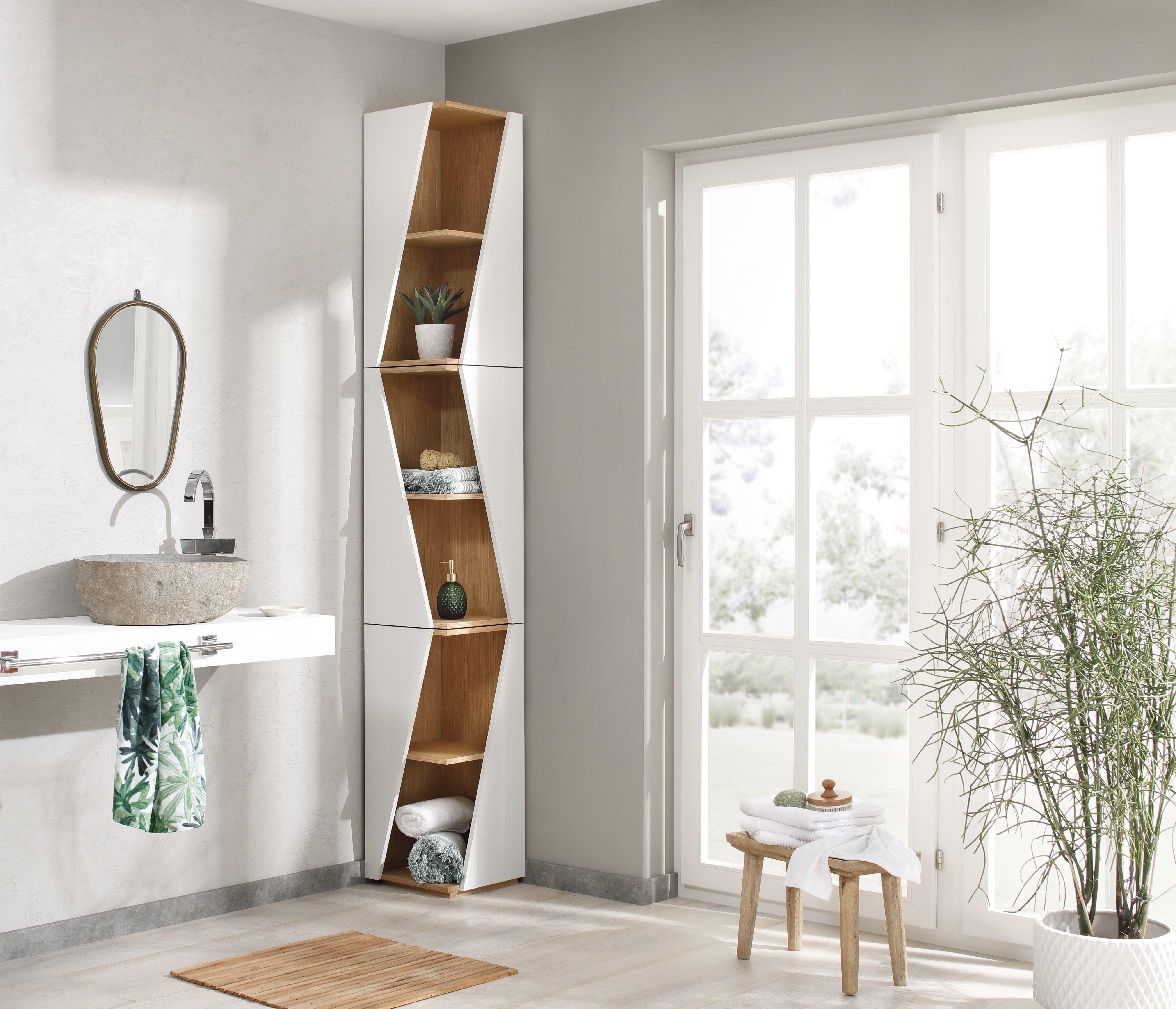 becky ist ein stapelbares design eckregal f r kleine badezimmer aufgrund der schmalen bauweise. Black Bedroom Furniture Sets. Home Design Ideas