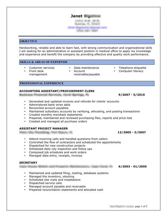 Business resume help