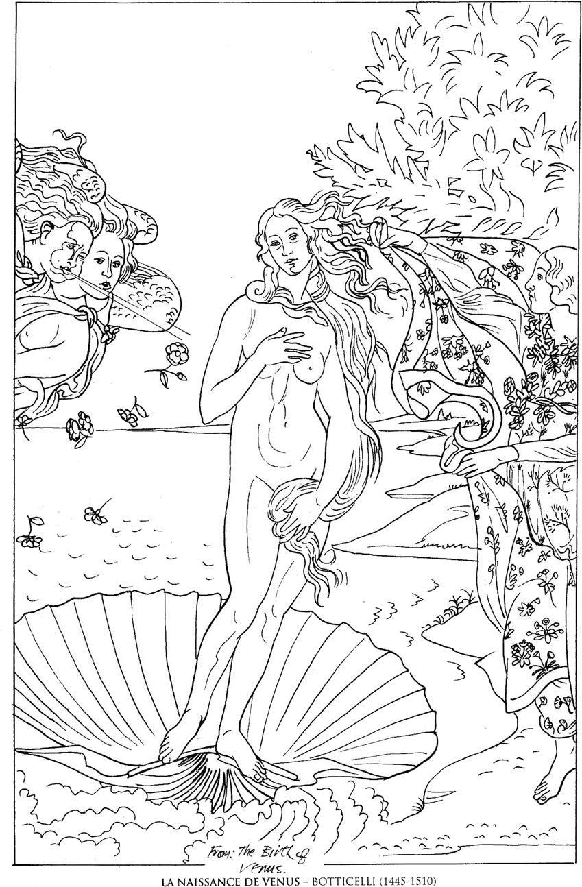 La Naissance De Venus Botticelli Famous Paintings Coloring Pages