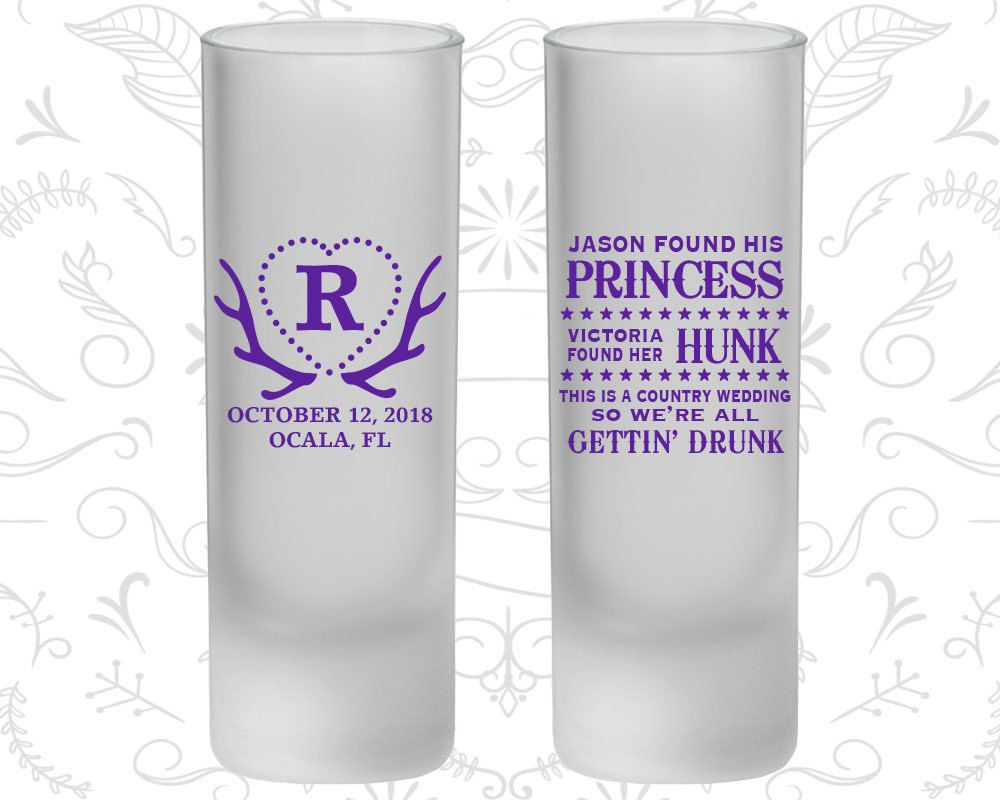 Wedding decorations rose gold october 2018 Princess Hunk Wedding we getting drunk Frosted Tall Shot Glasses