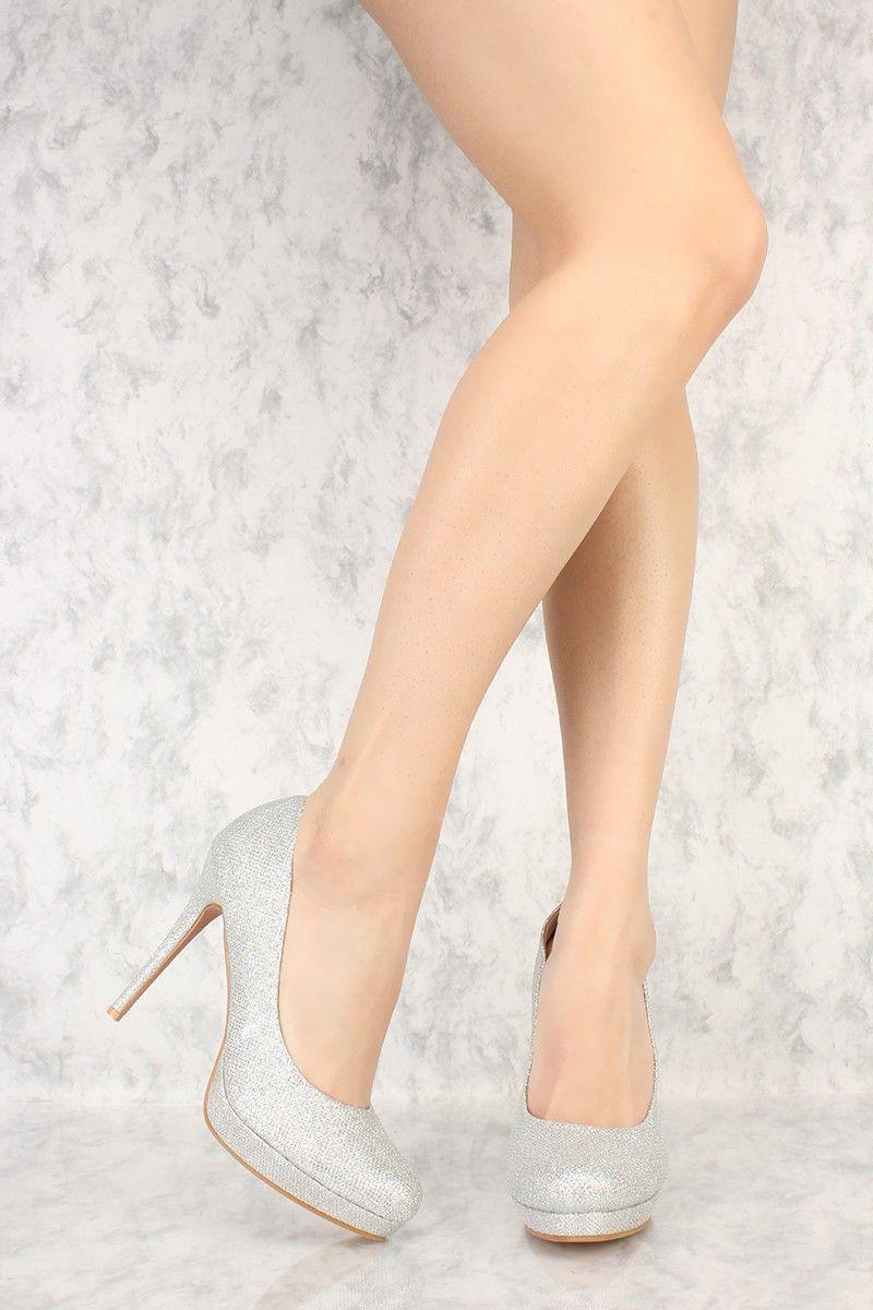 e8b2b9df832 Silver Close Toe Glittery Textured High Heels | Shoes in 2019 ...