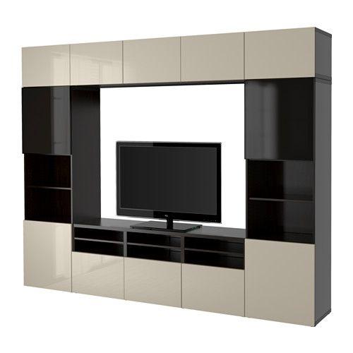 BESTÅ TV-Komb mit Vitrinentüren - schwarzbraun Selsviken - wohnzimmer grau schwarz braun