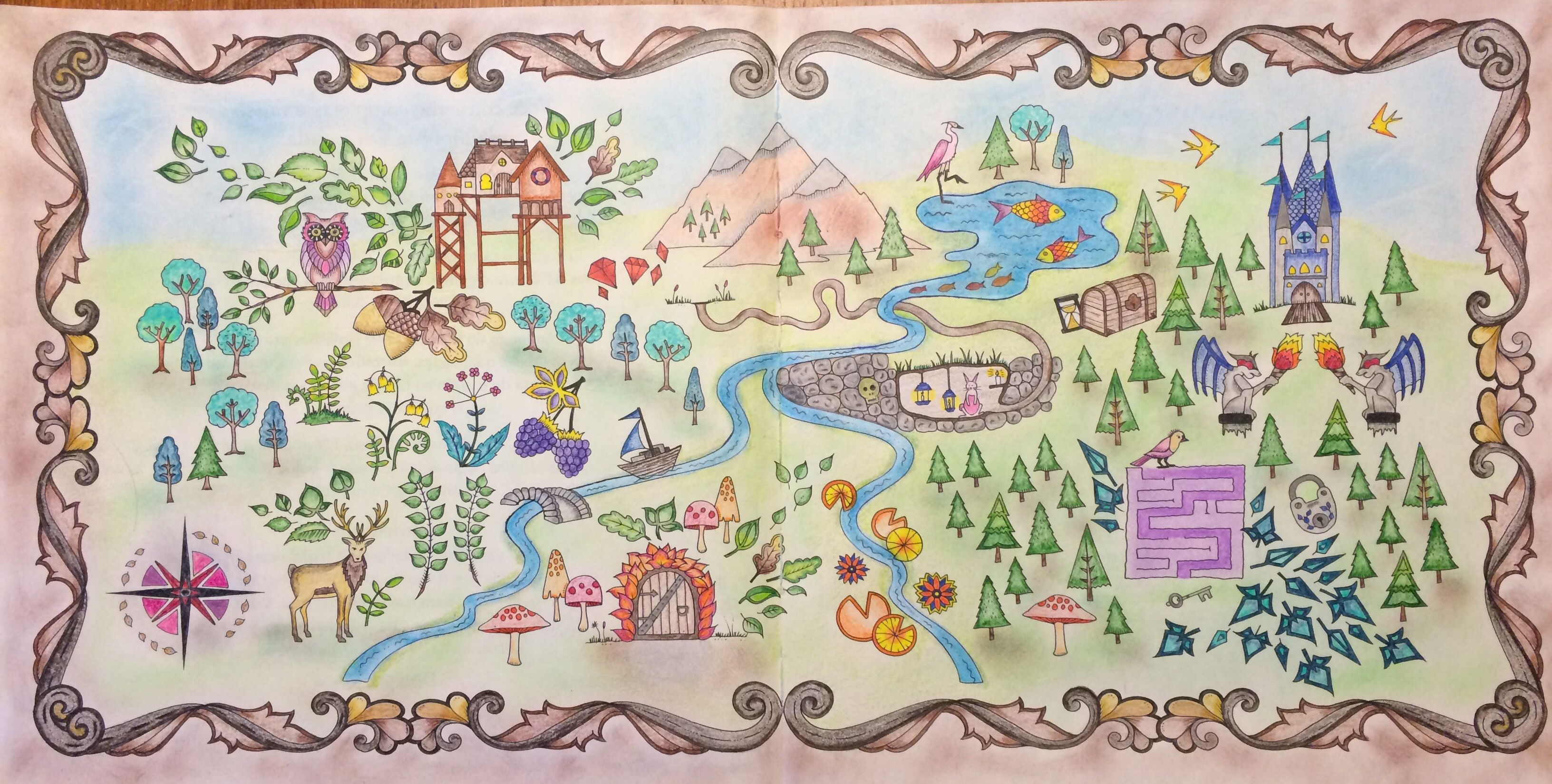 Enchanted Forest Map Coloring Book By Johanna Basford Colored Kelsey Everett