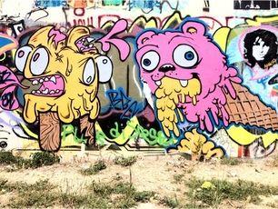 Niz #stencil at the Project Hope street art site on Baylor and 10th. #austin #streetart #graffiti