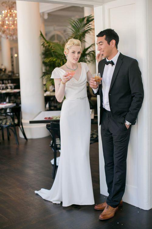 Cowl Neck Wedding Dress