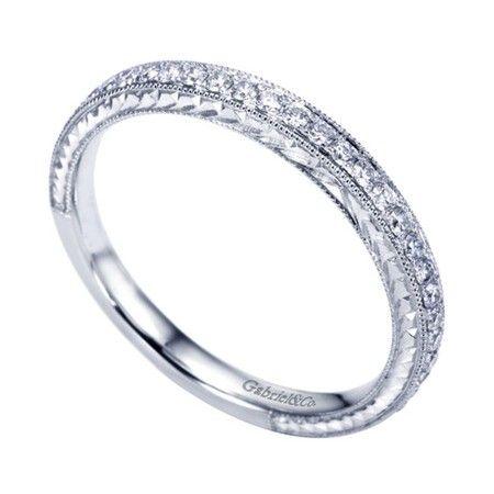 14k White Gold Engraved Diamond Wedding Band Wedding Day Diamonds Diamond Wedding Bands Vintage Engagement Rings Art Deco Wedding Day Diamonds