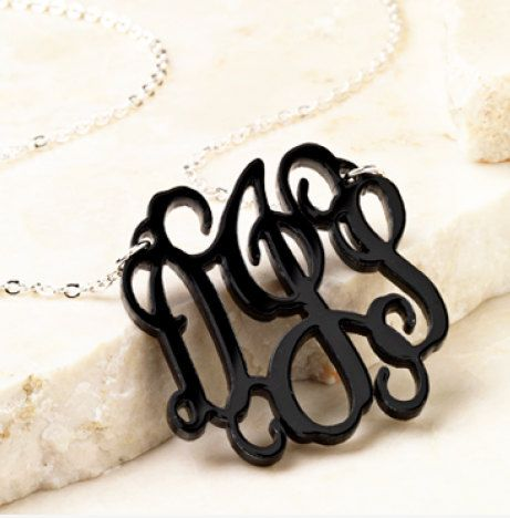 Monogrammed Acrylic Necklace by ThePinkPineappleShop on Etsy, $30.00